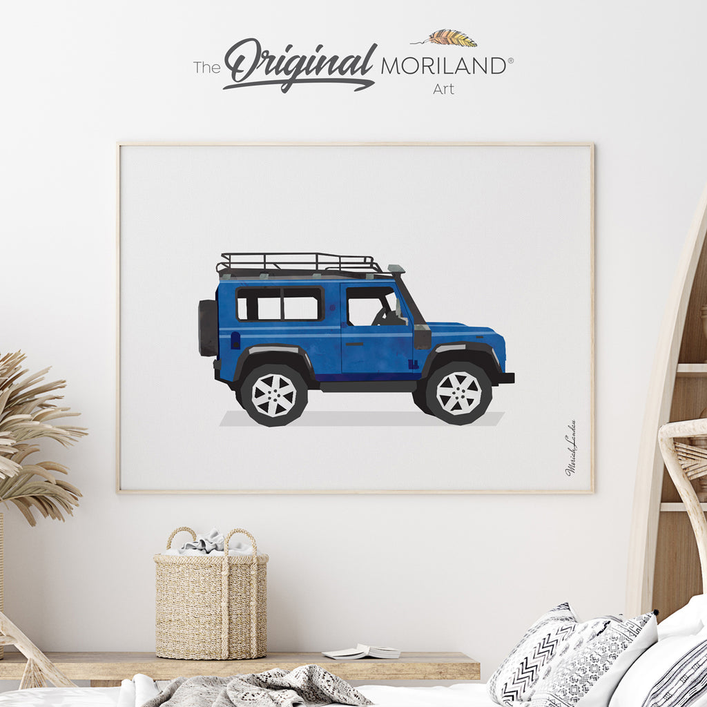 Blue Car Print for boy room decor by MORILAND