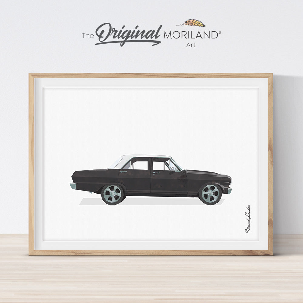 black classic muscle car wall art print