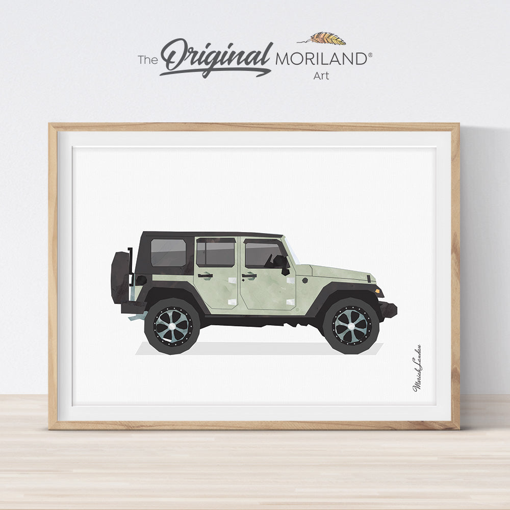 Classic SUV car art print for boy bedroom and nursery decor by MORILAND