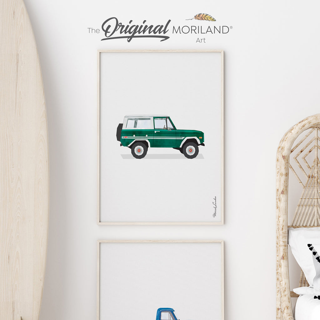 Classic Vintage American SUV Fine Art Print for Boy Room Decor