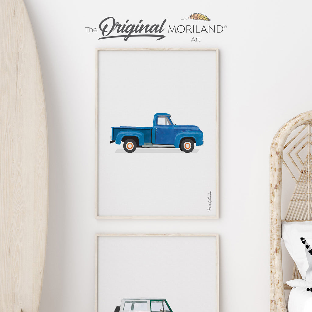 Classic Vintage American Pickup Truck Fine Art Print for Boy Room Decor