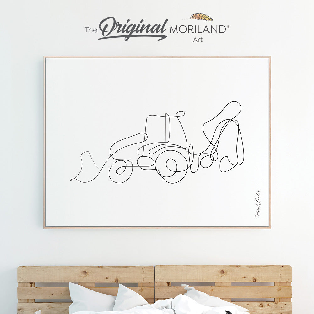 One Line Drawing Print, Digger Art, Construction Print, Toddler Boy Room Decor, Transportation Decor, Printable, Minimalist Art, MORILAND