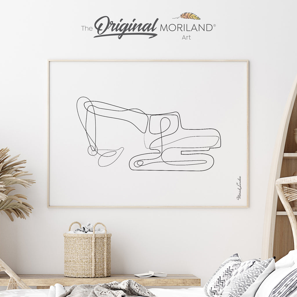 Digger - One Line Art Drawing Fine Art Paper Print by MORILAND