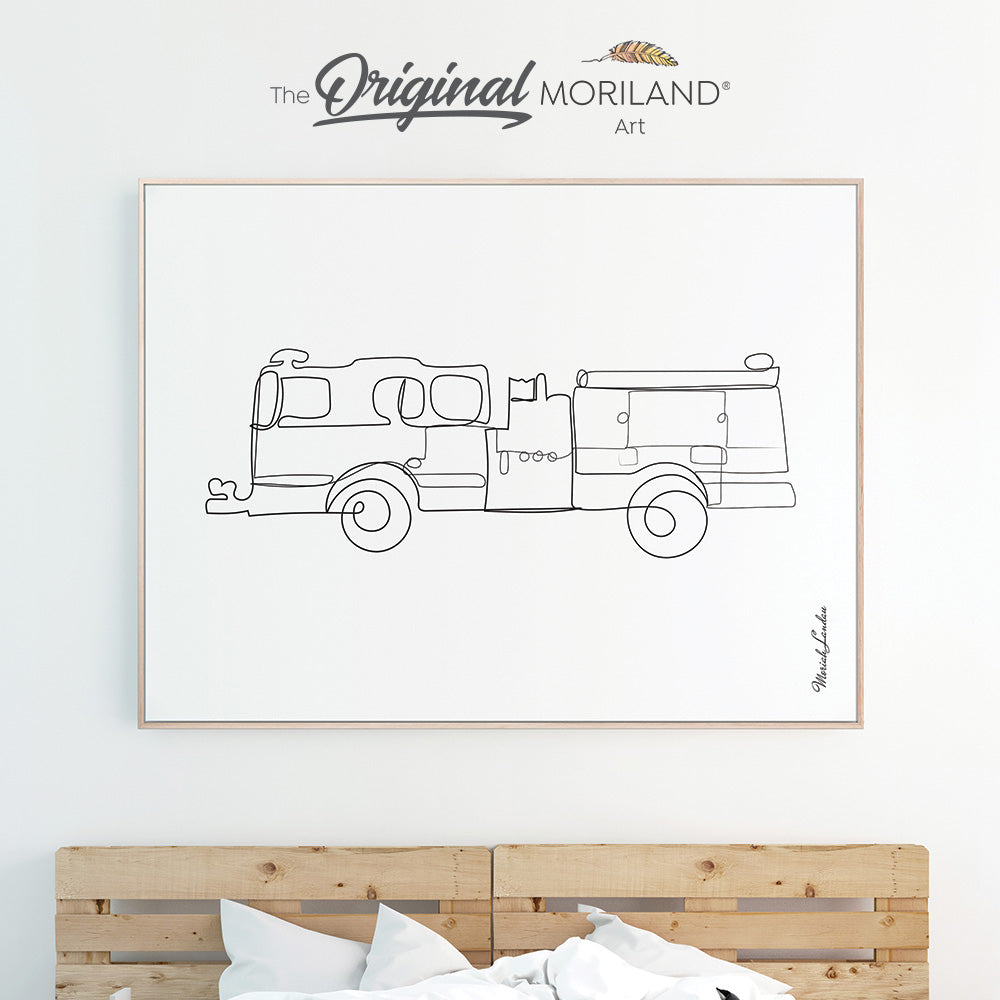 One Line Art Drawing Print, Fire Truck Art, Vehicle Wall Art, Boy Bedroom Print, Transportation Decor, Printable, Minimalist Nursery Art