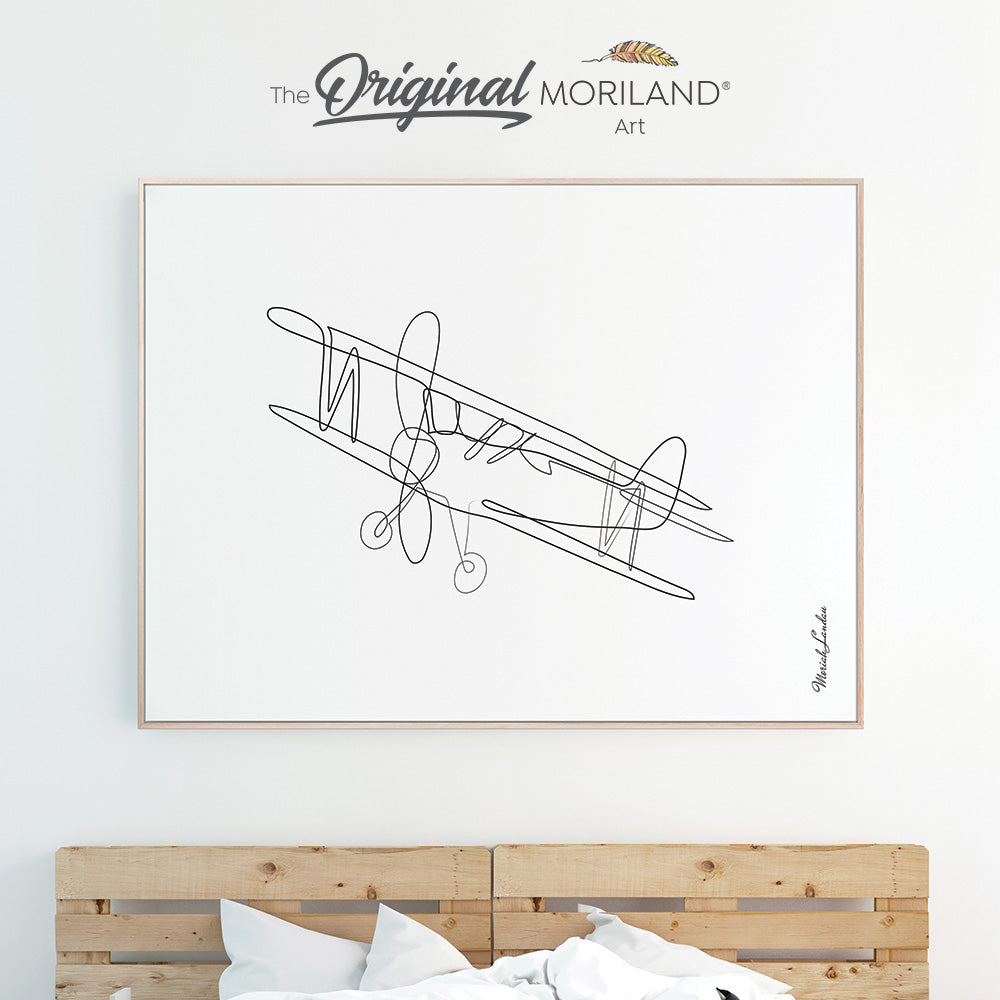 One Line Art Drawing Print, Biplane Art, Plane Print, Boy Bedroom Print, Transportation Wall Art, Printable, Minimalist Nursery, MORILAND