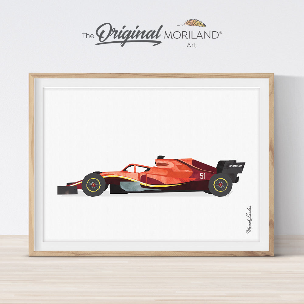 open-wheeled single-seater Motorsport road racing car art print for boy room decor by MORILAND