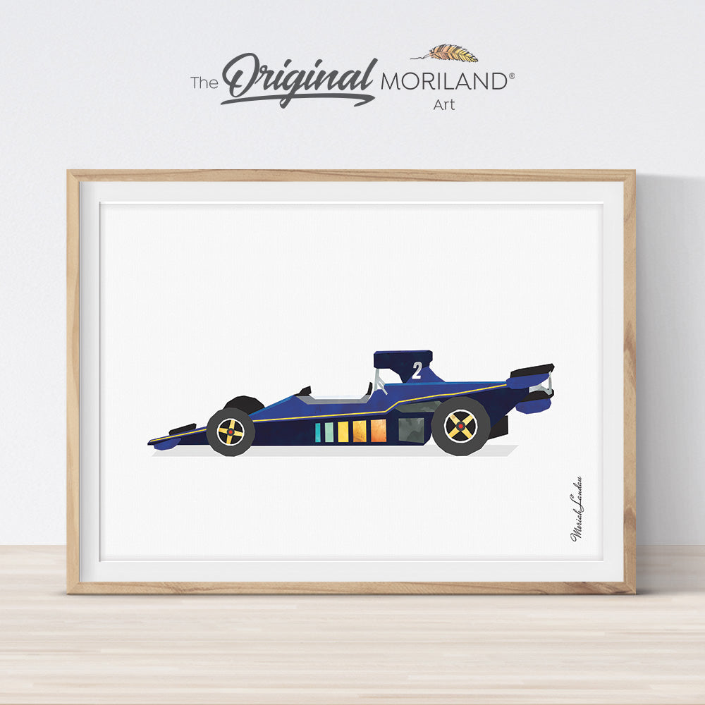 Blue vintage race car print for boy bedroom decor by MORILAND