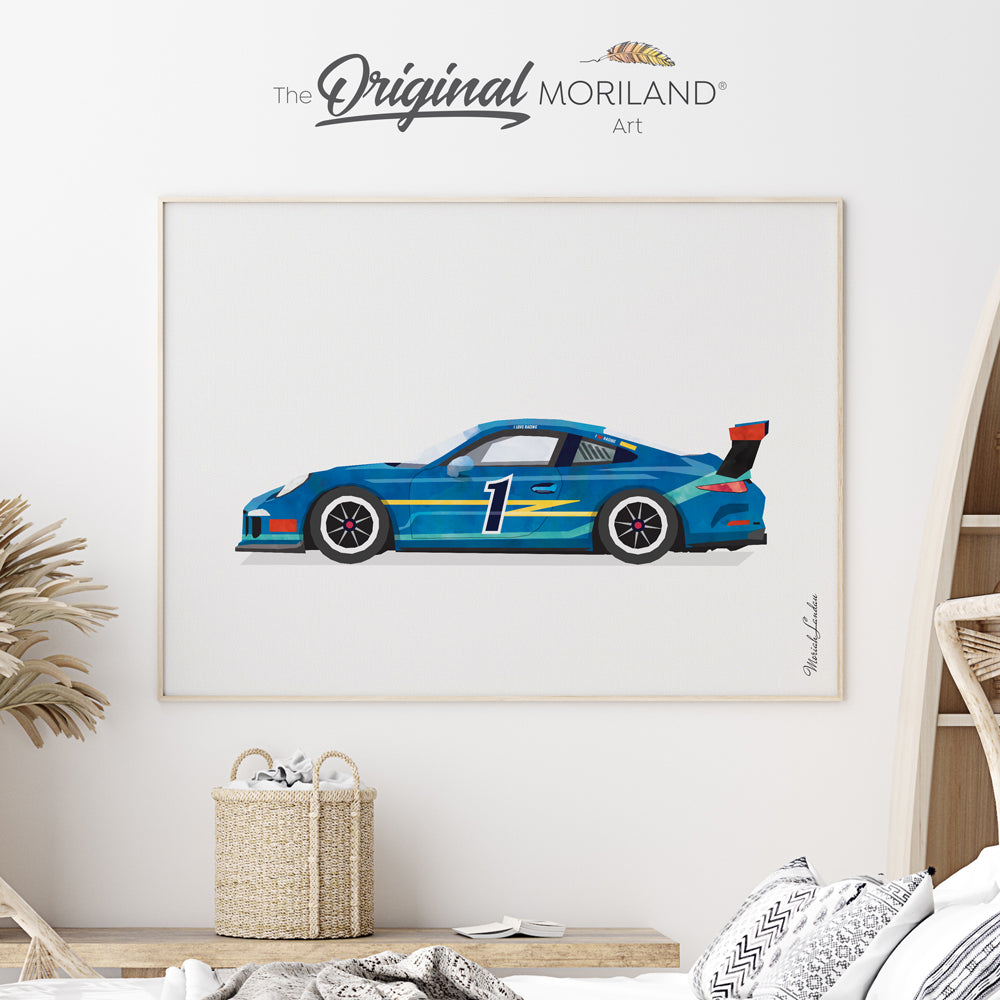 Race car watercolor art print for boy room decor by MORILAND