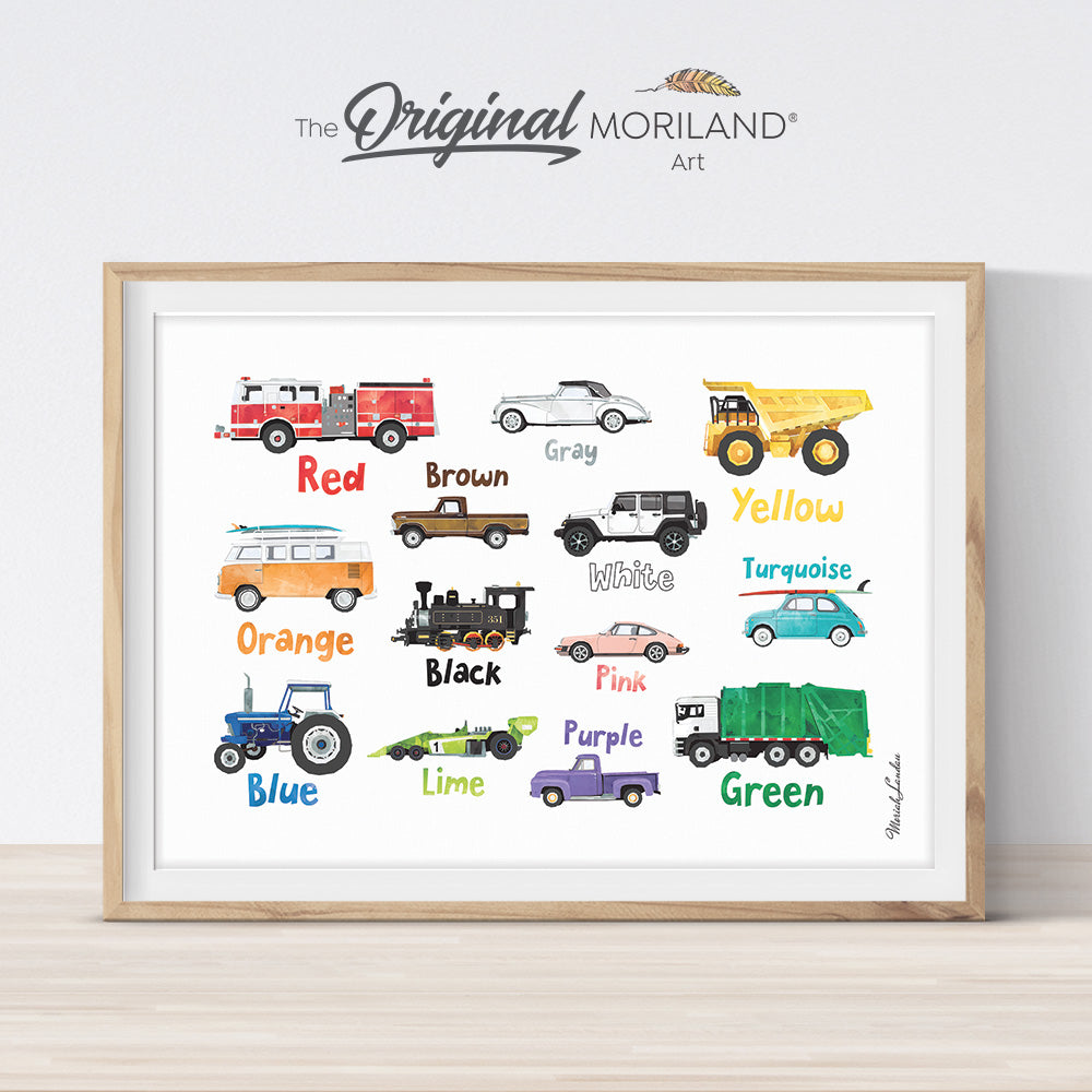 Learning colors print, preschool printable, vehicles by MORILAND
