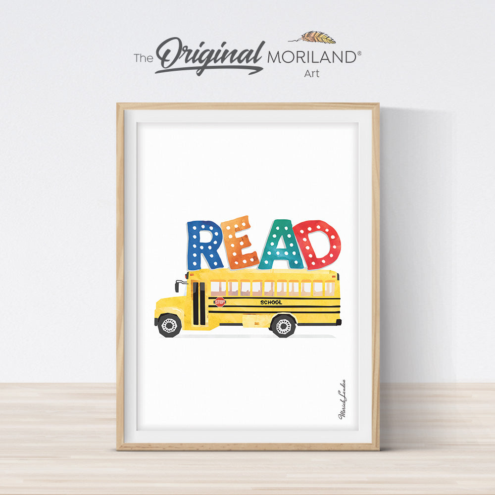 READ work art print printable with school bus for kids room decor by MORILAND
