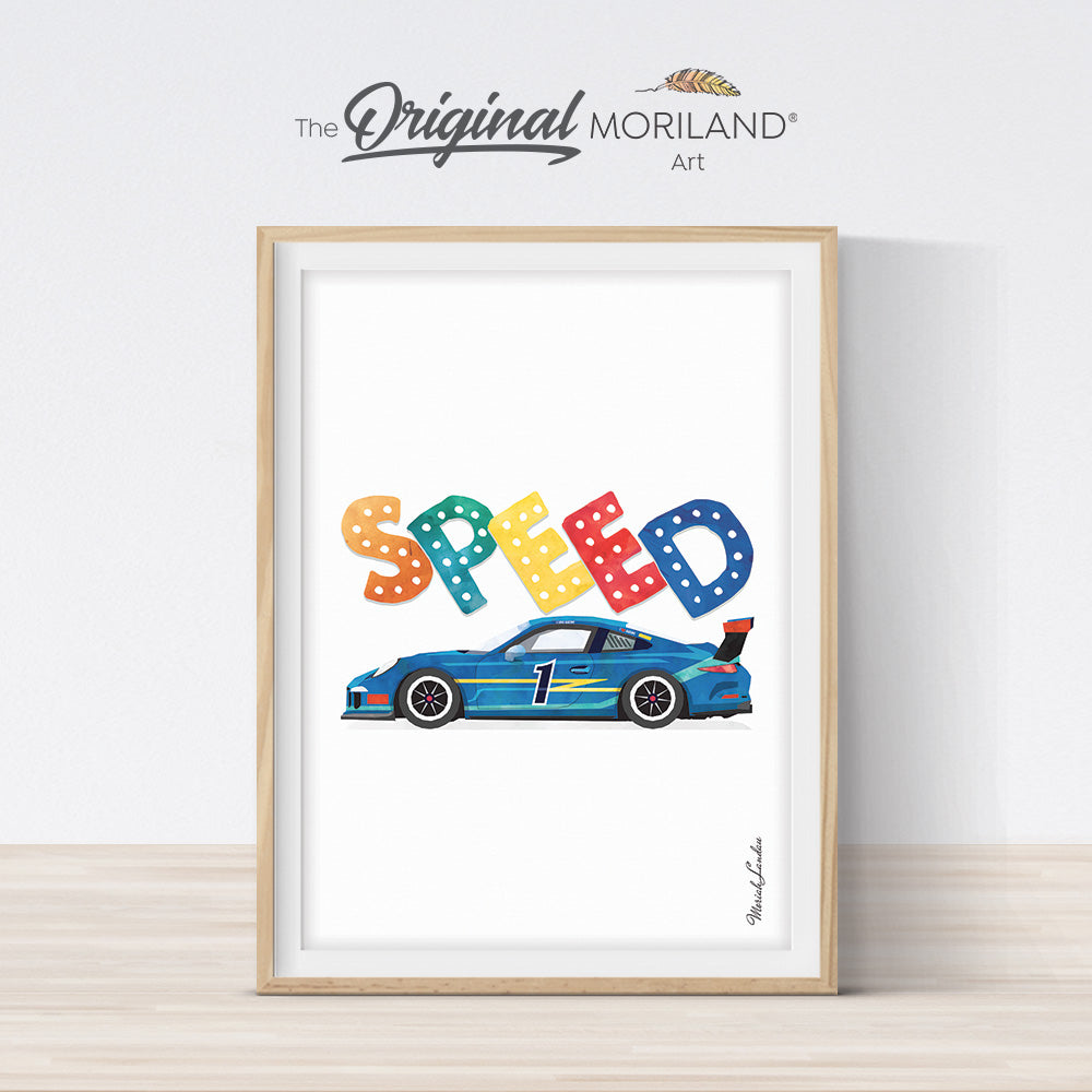 Speed Quote art print with race car for boy bedroom decor, printable, by MORILAND