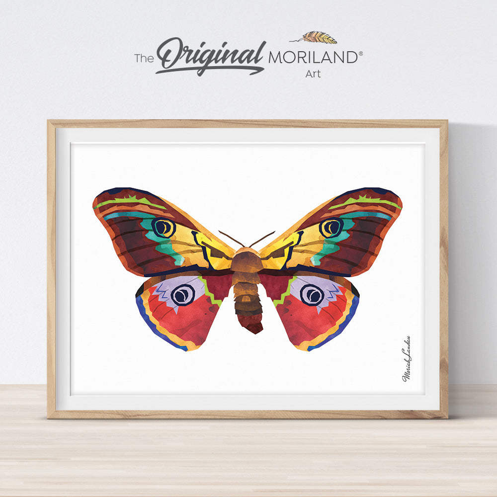 Watercolor Moth butterfly printable wall art for girls bedroom décor by MORILAND