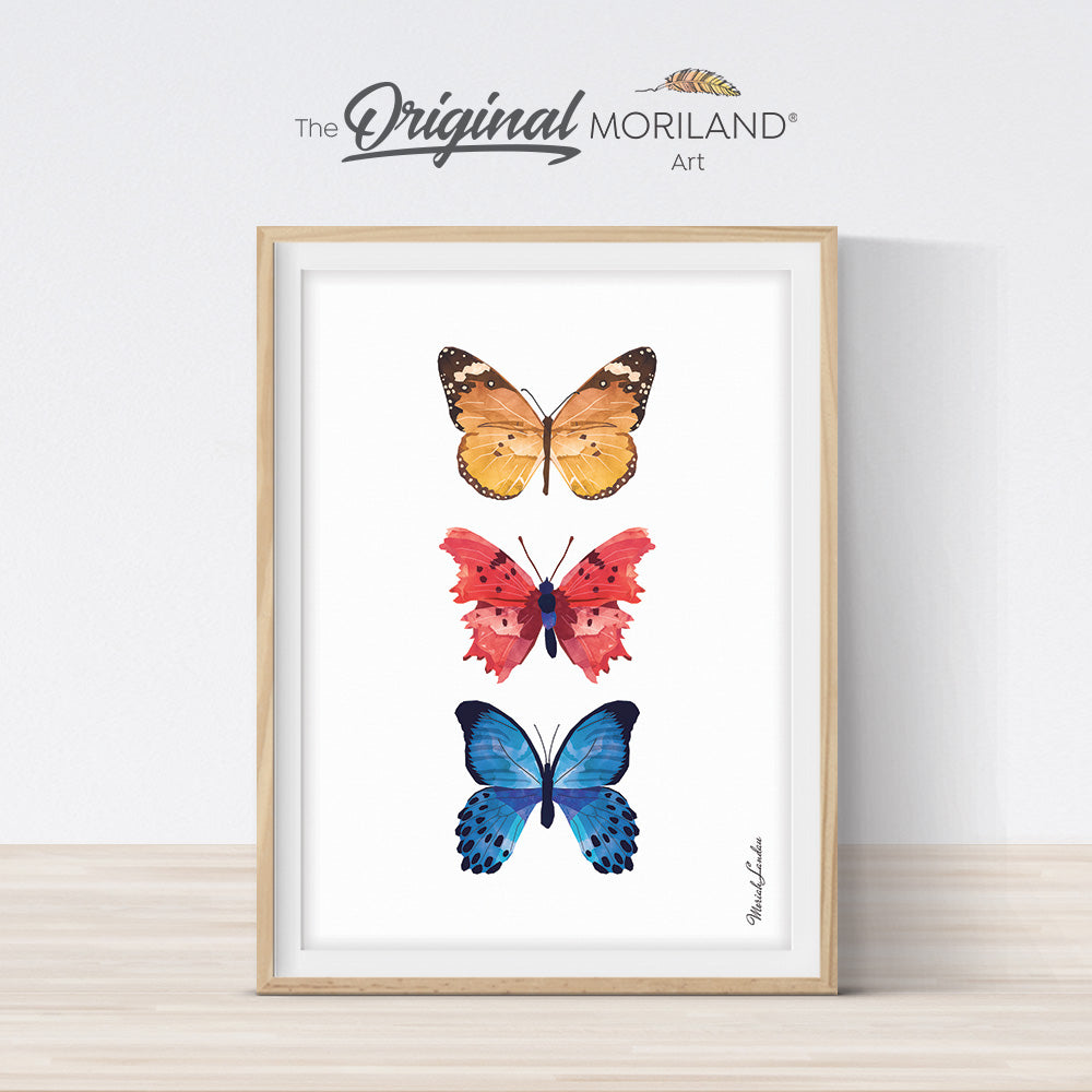 watercolor butterflies wall art print for kids room decor by MORILAND