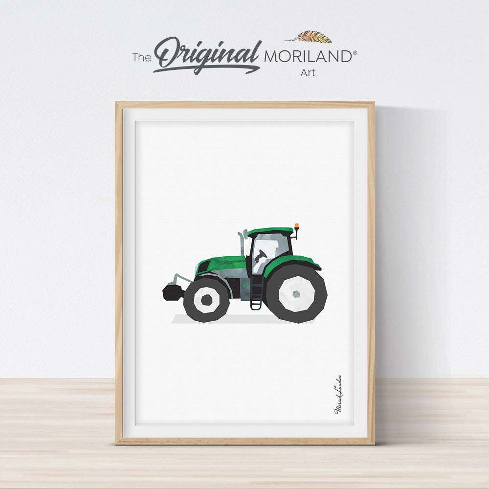 watercolor tractor printable art for toddler boy bedroom decor by MORILAND