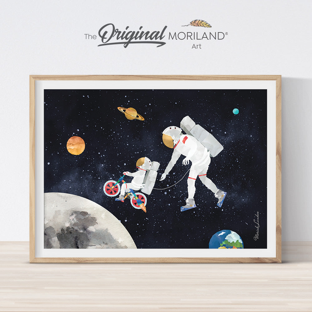 watercolor outer space astronaut wall art