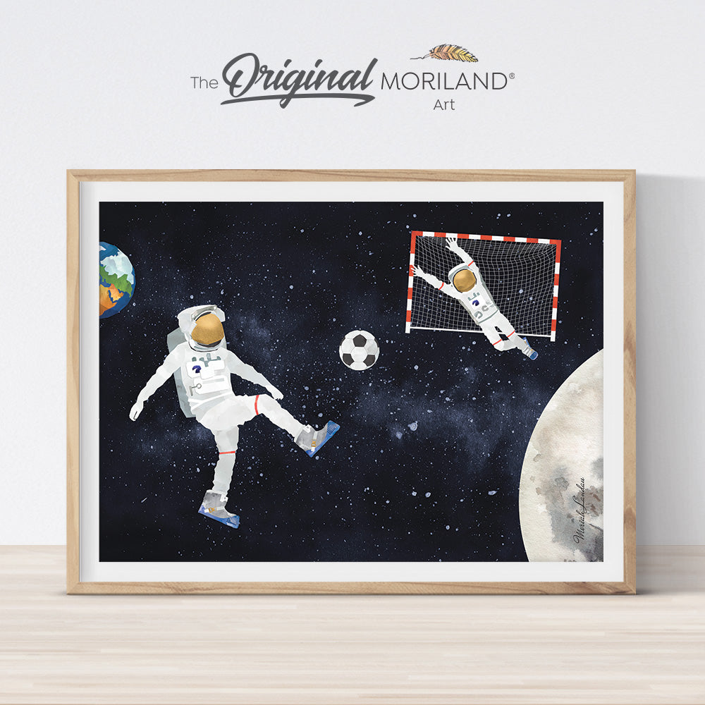 Soccer playing soccer outer space wall art print by MORILAND