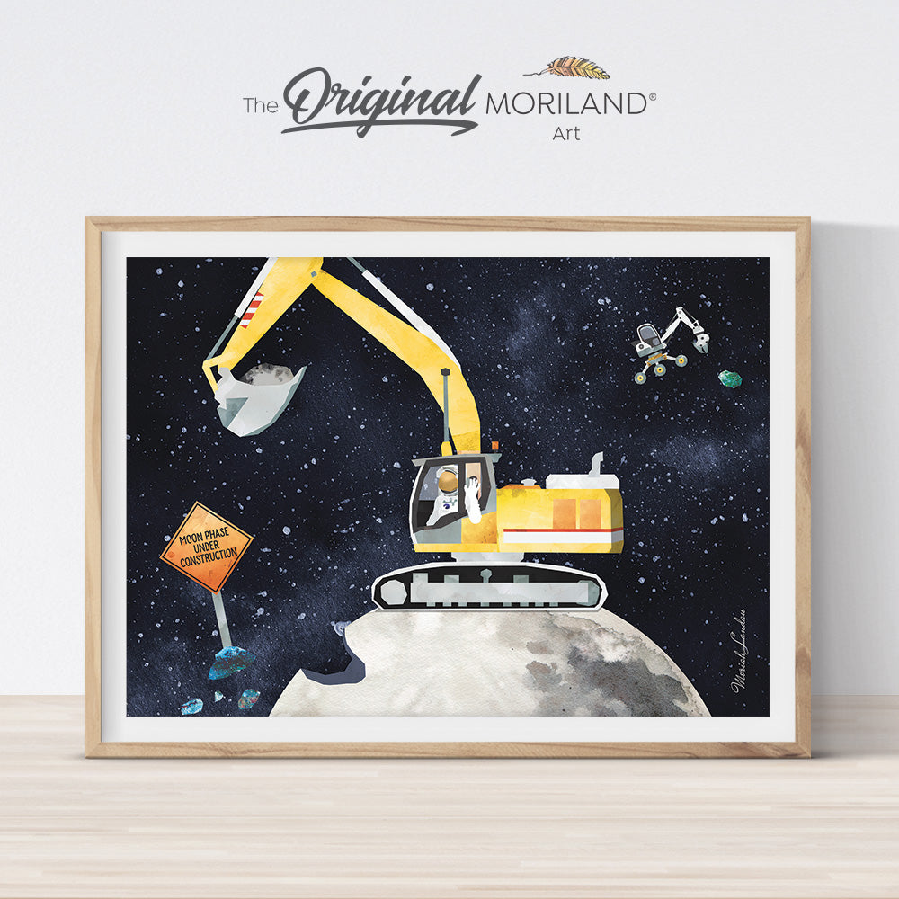 Digger print for boy room decor, watercolor outer space art by MORILAND
