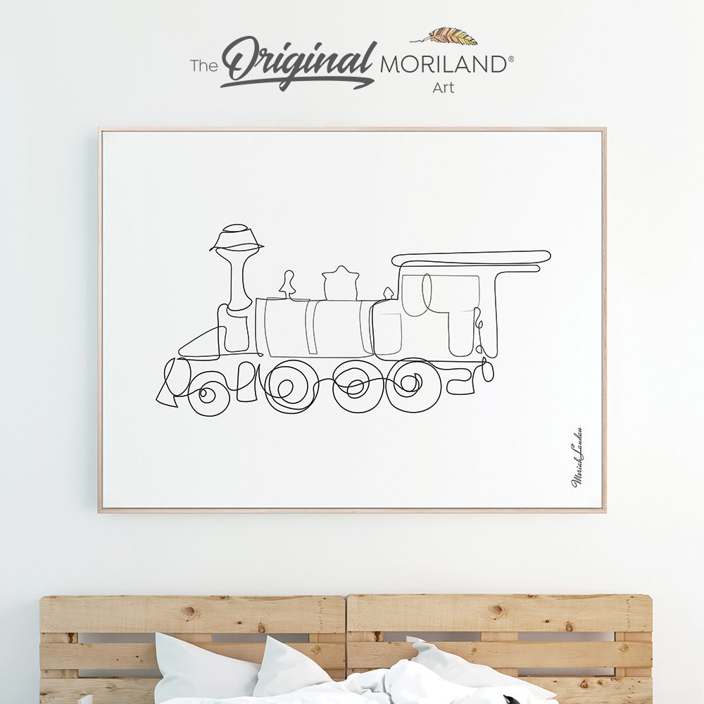 One line art drawing of a train for bedroom minimalist decor by MORILAND