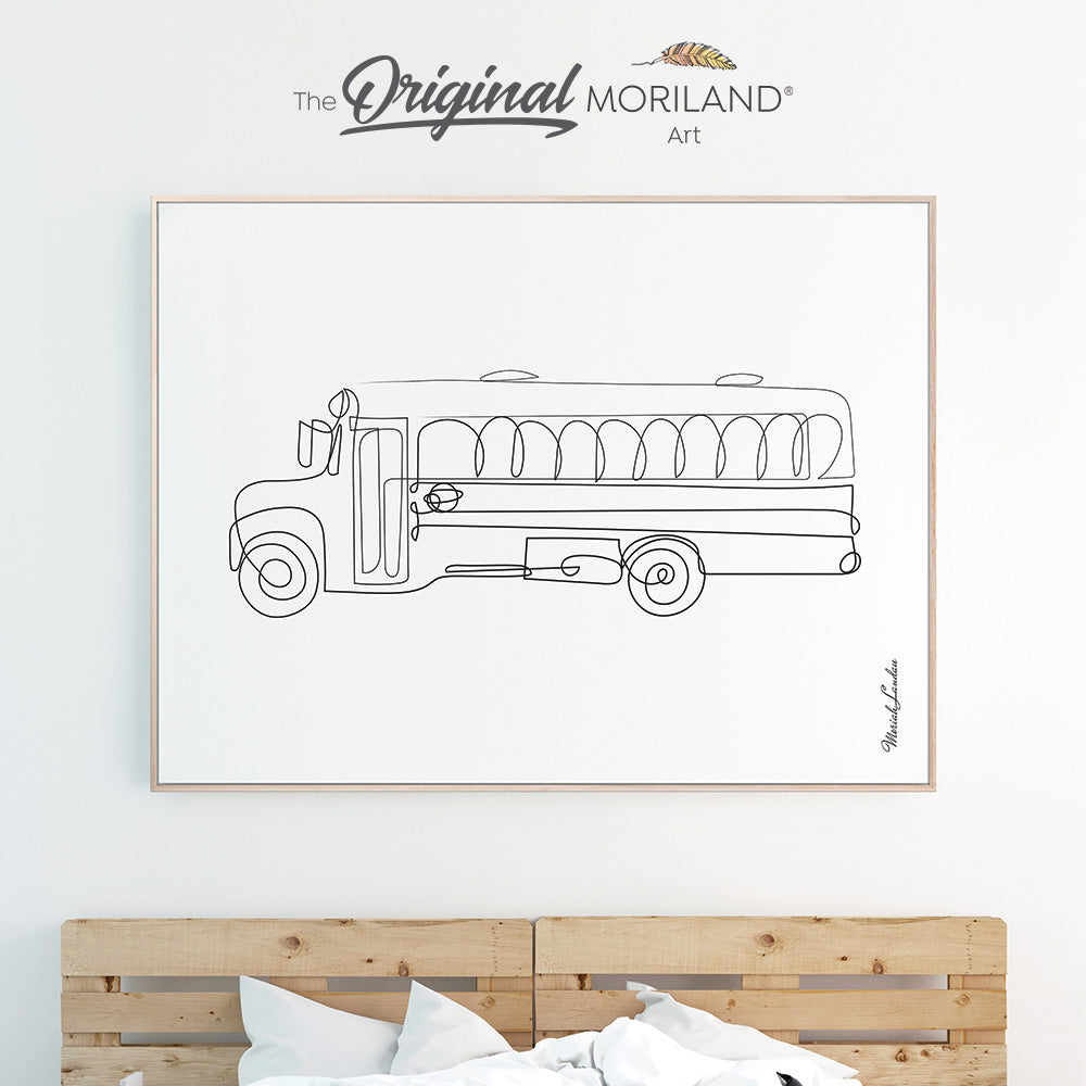 One line drawing art of school bus for minimalist boy room decor by MORILAND