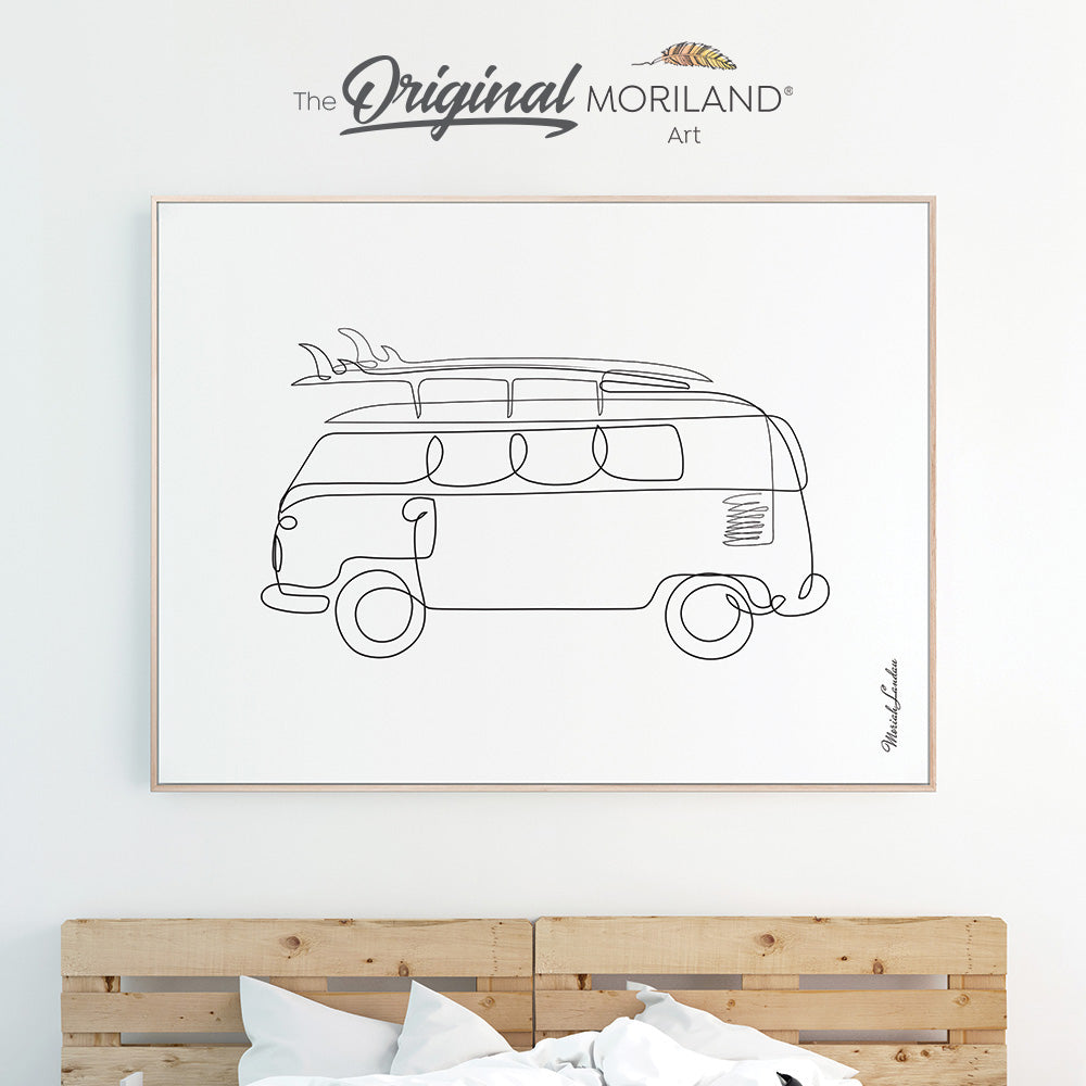 One line art drawing of van with surfboard for bedroom minimalist decor by MORILAND