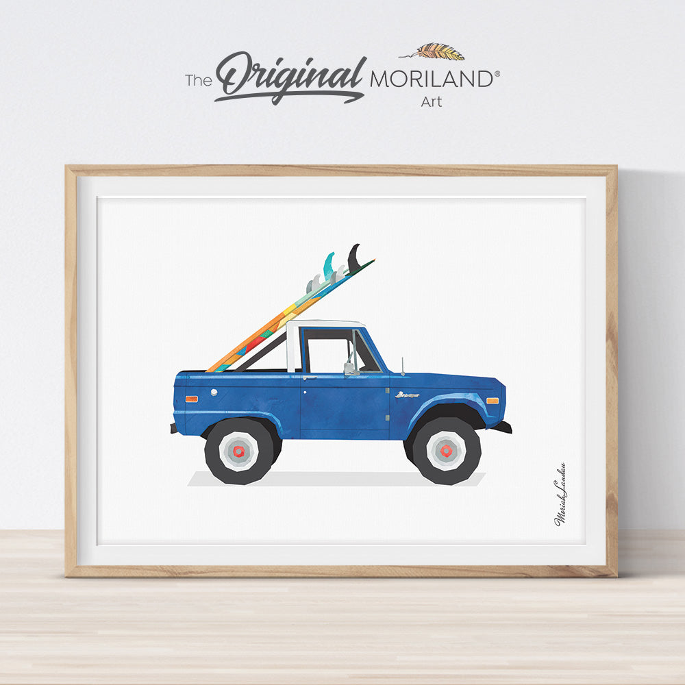 watercolor vintage truck with surfboard printable wall art print for kids bedroom