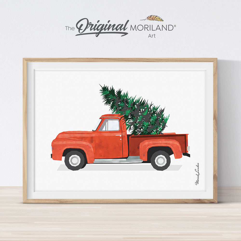 Old Vintage Christmas red truck printable card and decoration
