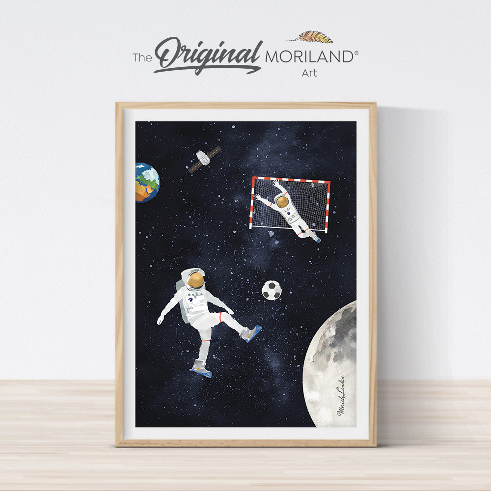 soccer in space fun astronaut art for kids room by MORILAND