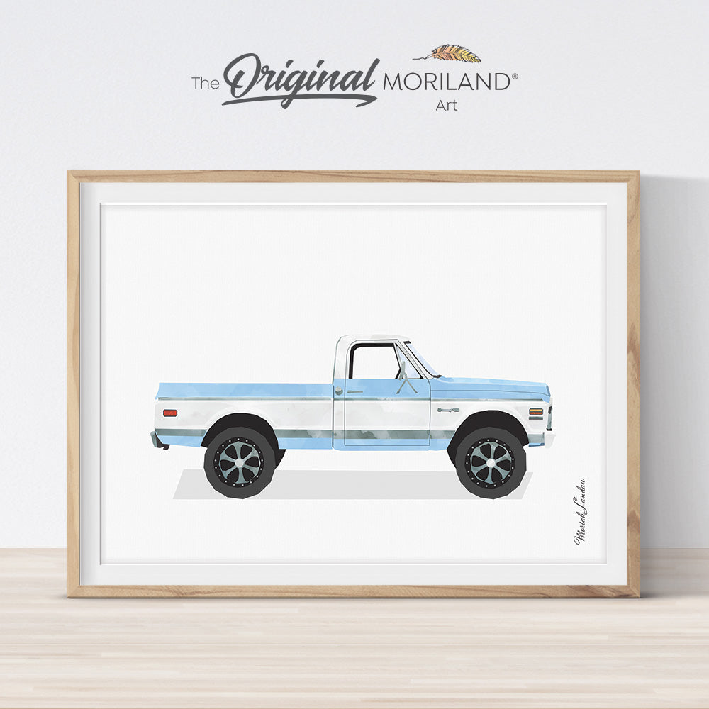 Baby Blue High Classic Pickup Truck Print - Printable Art