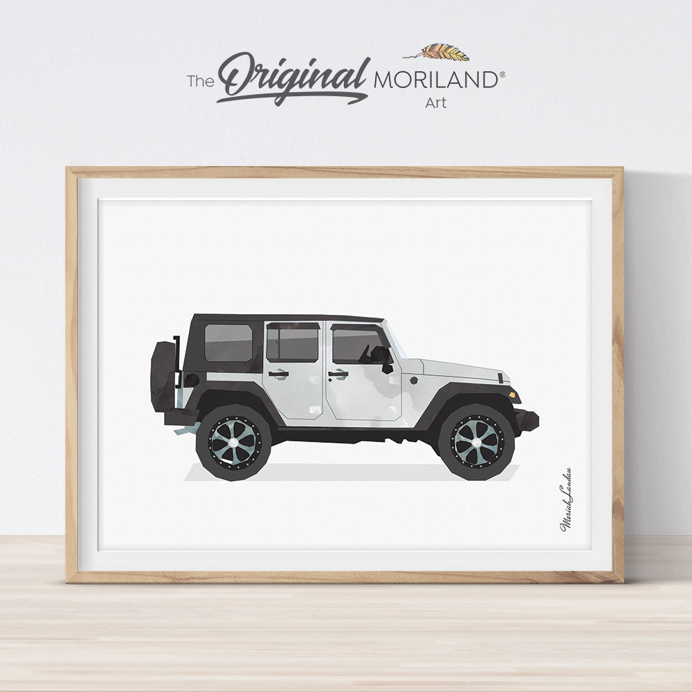 watercolor car wall art for kids room decor