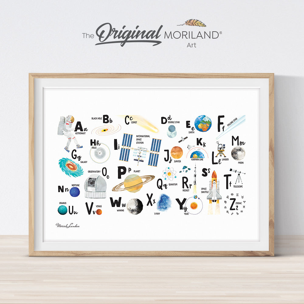 Educational Space Alphabet Print Horizontal - Printable Art by MORILAND