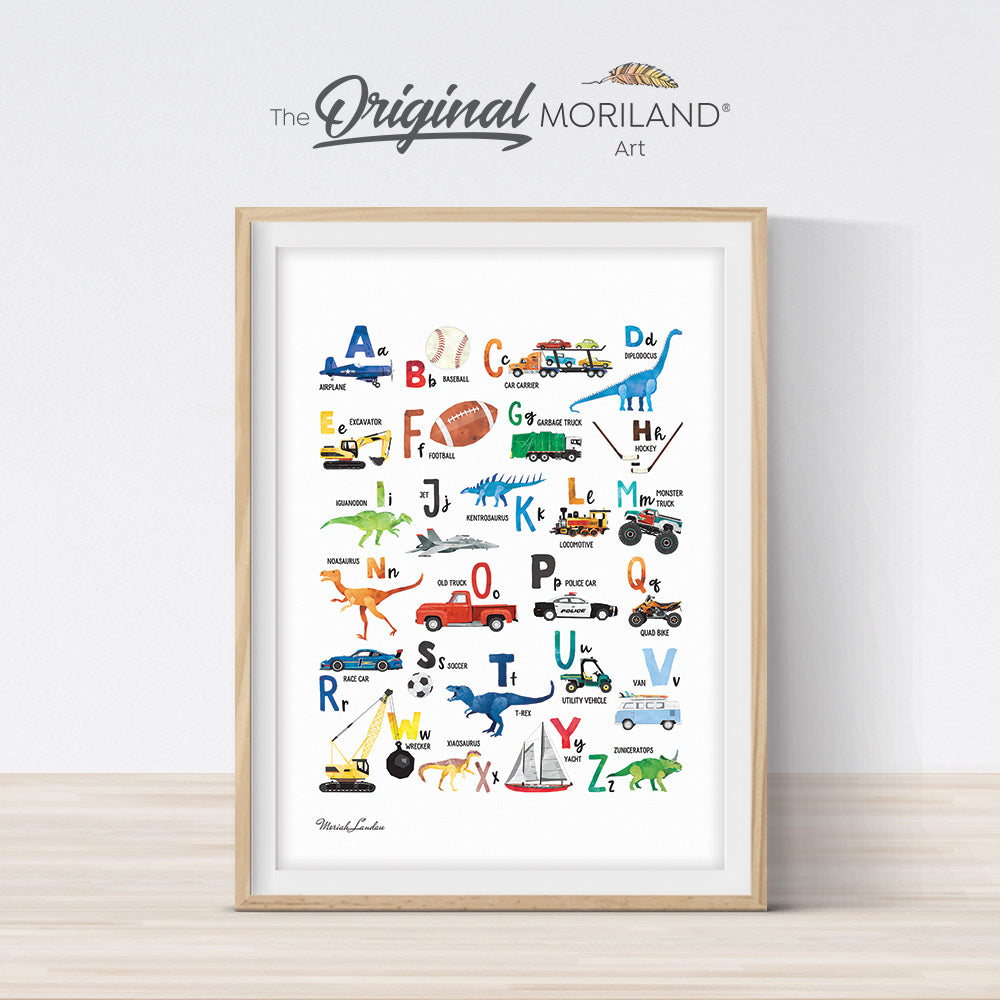 Transportation, Dinosaurs & Sports Alphabet Print Vertical - Printable Art