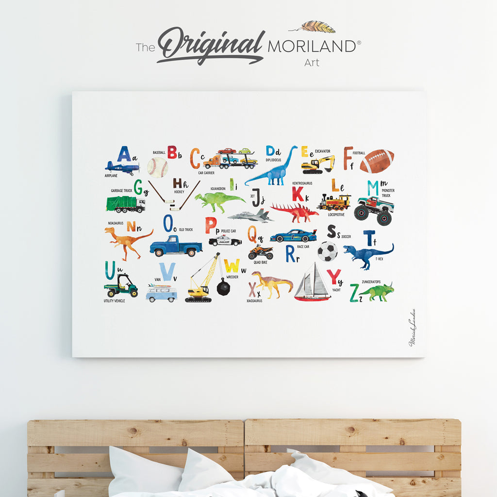Transportation, Dinosaurs & Sports Alphabet Canvas Print for boys room