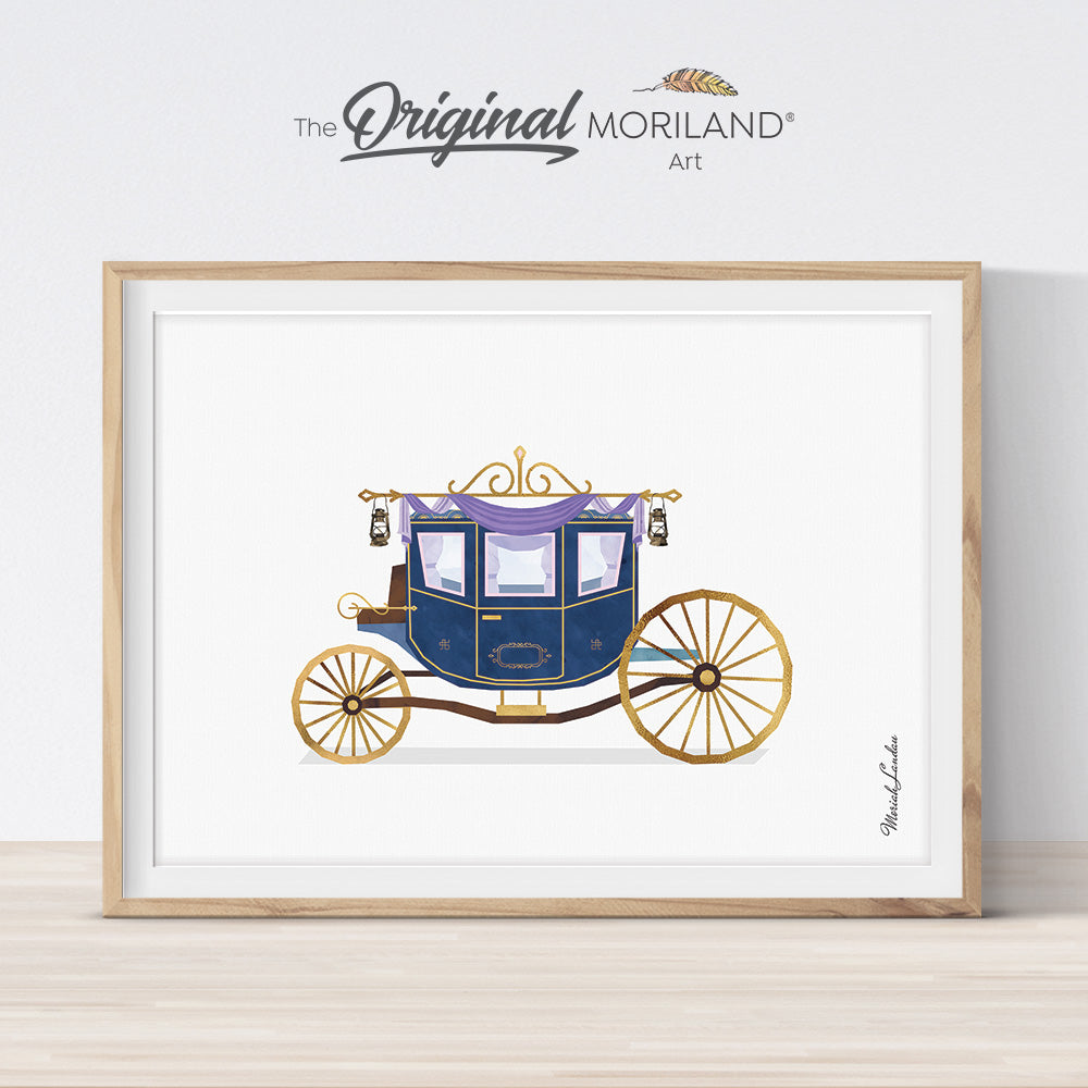 princess carriage watercolor wall art print for girl bedroom decor by MORILAND art