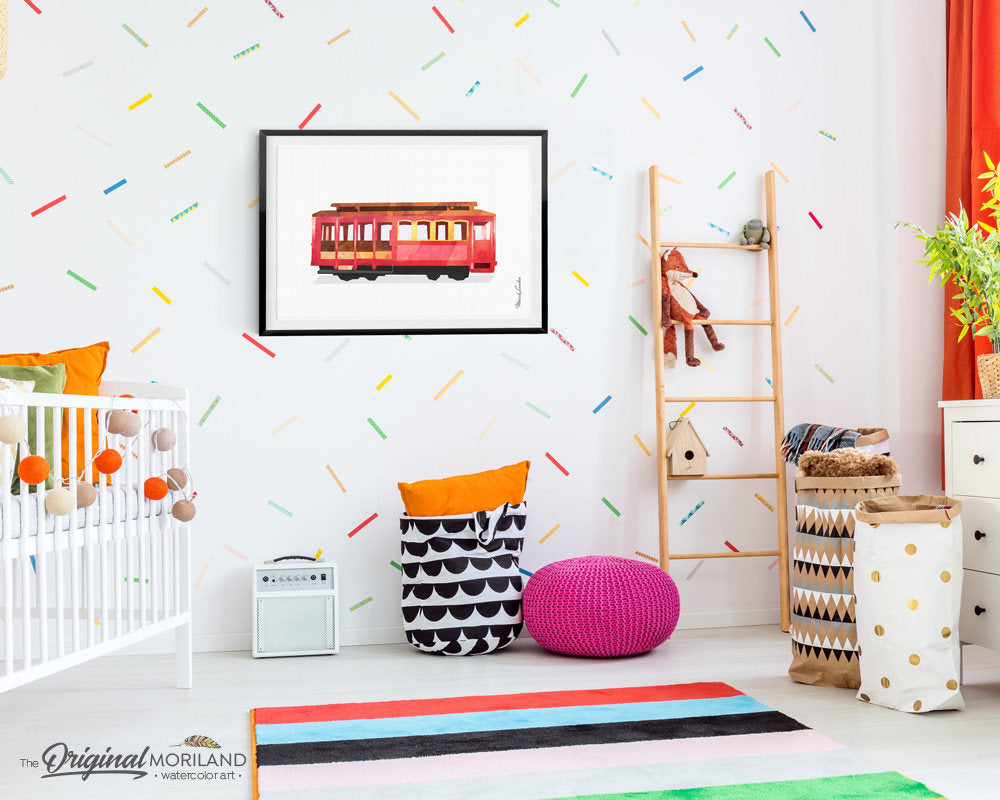 Cable car wall art print for kids bedroom and playroom decor