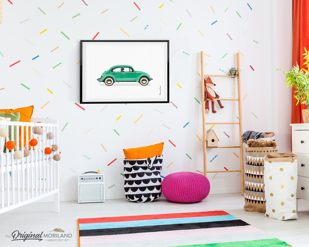 Classic Beetle Car Art for girls and boys room decor