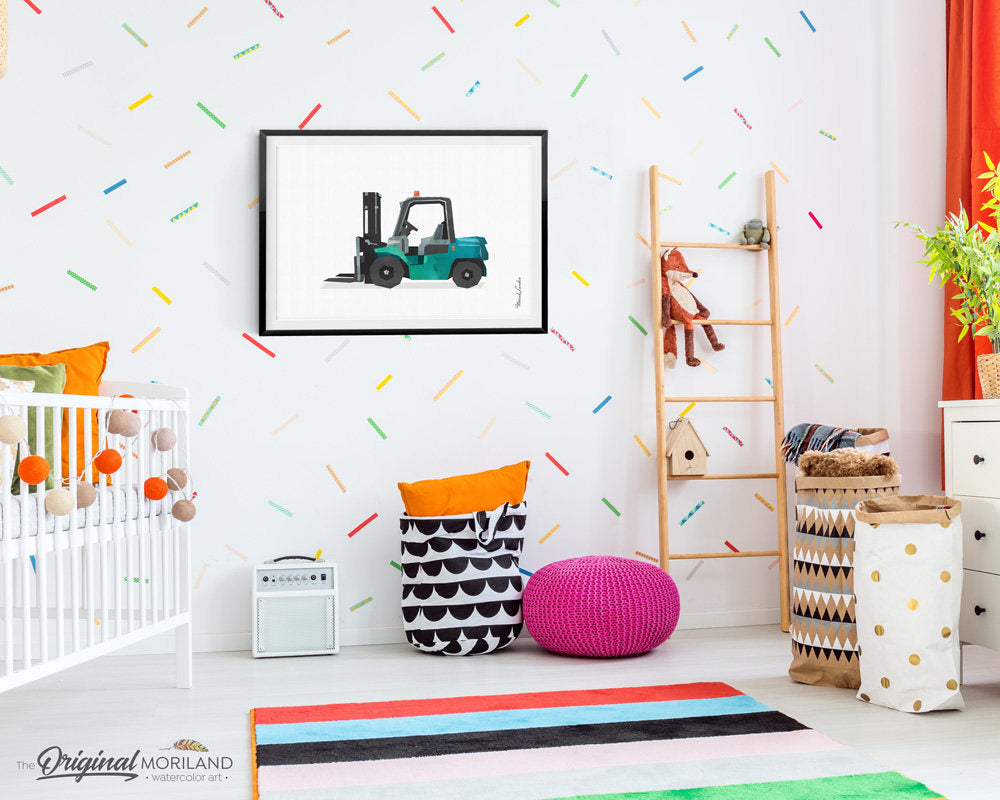 Forklift Truck Print, Lift Truck Art Print, Truck Art, Construction, Truck Birthday, Toddler Decor, Transportation Print, Nursery Printable
