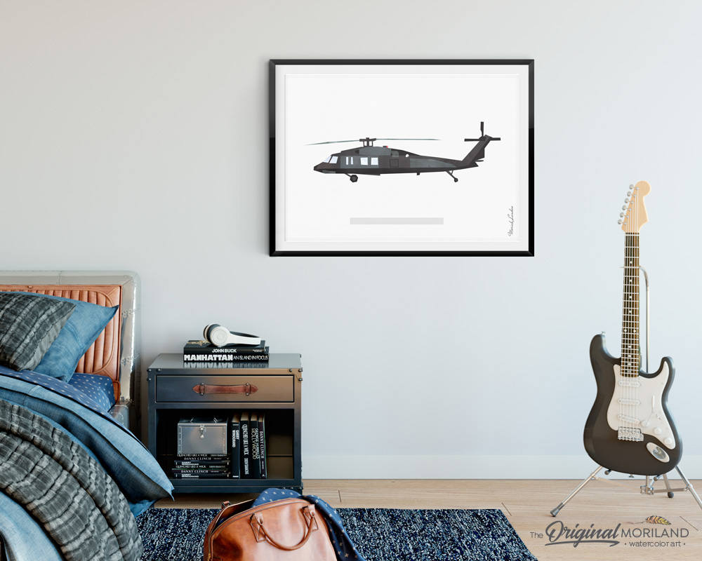 UH-60 Black Hawk Print, Army Helicopter, Transportation Art Print, Big Boys Wall Art, Helicopter Decor, Navy Helicopter, Printable Art