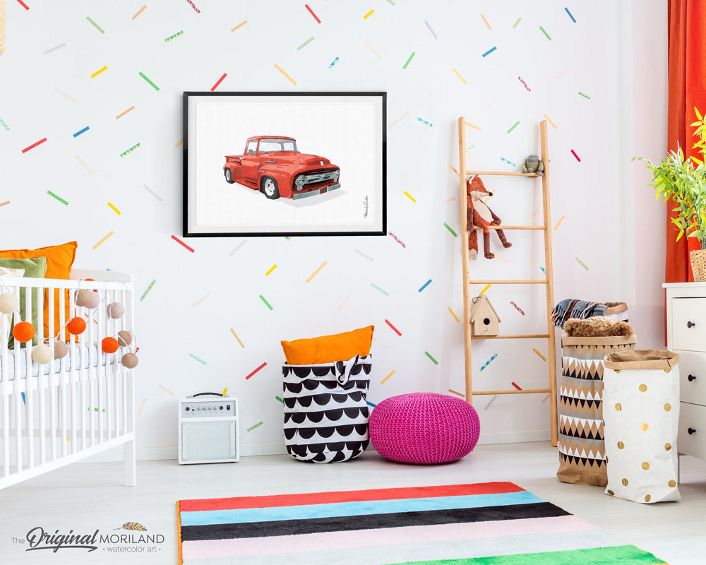 ford f100 red truck art for nursery and boy room decor