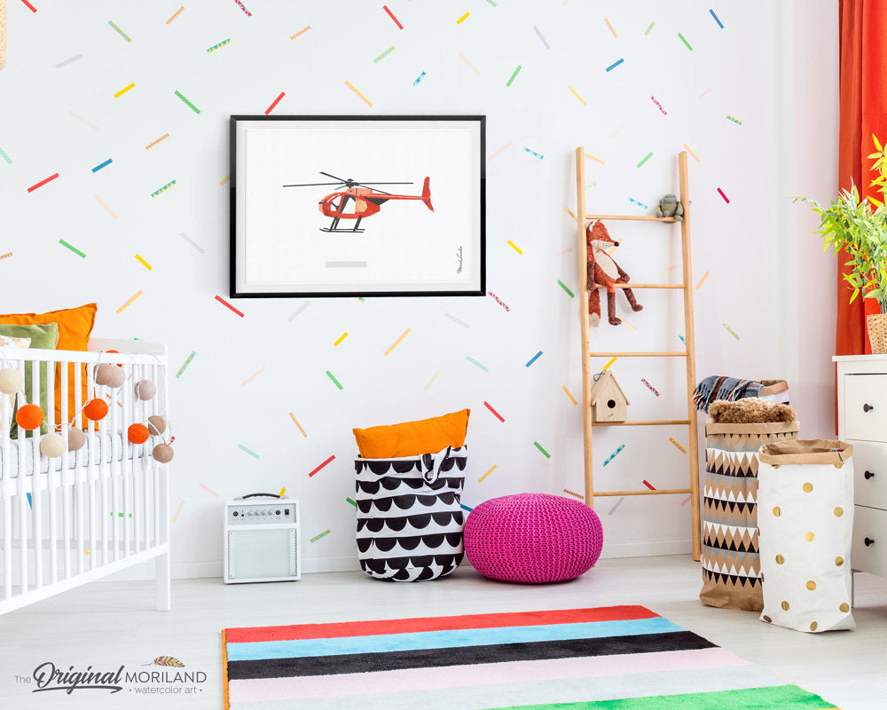 Helicopter Wall Art, Helicopter Print, Nursery Transportation, Printable, Little Boy's Room, Helicopter Nursery Print, Toddler Wall Decor