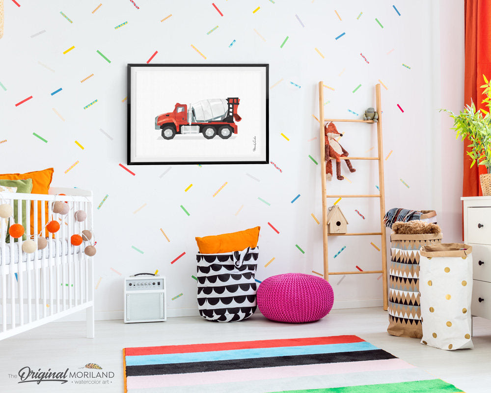 red cement mixer truck drawing wall art print for boy bedroom and nursery decor