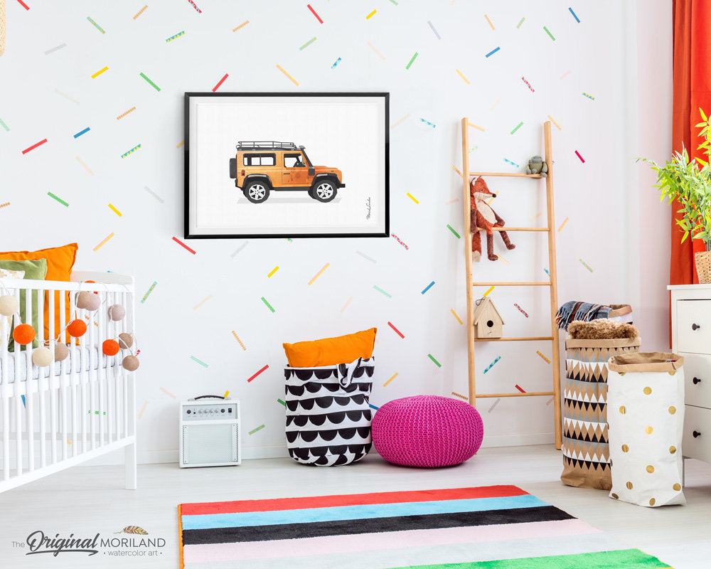 Land Rover Print, Land Rover Wall Decor, Transportation Decor, Vehicle Printable, Watercolor Decor, Nursery Decor, Big Boy Girl Room Decor