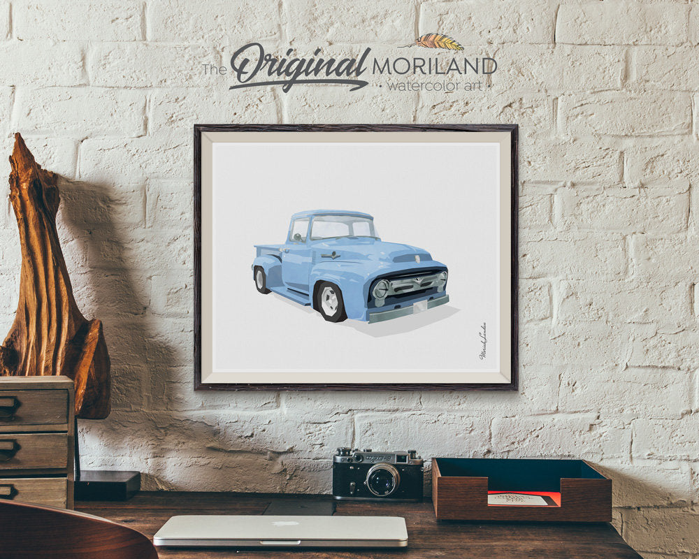 ford f100 truck art for nursery and boy room decor