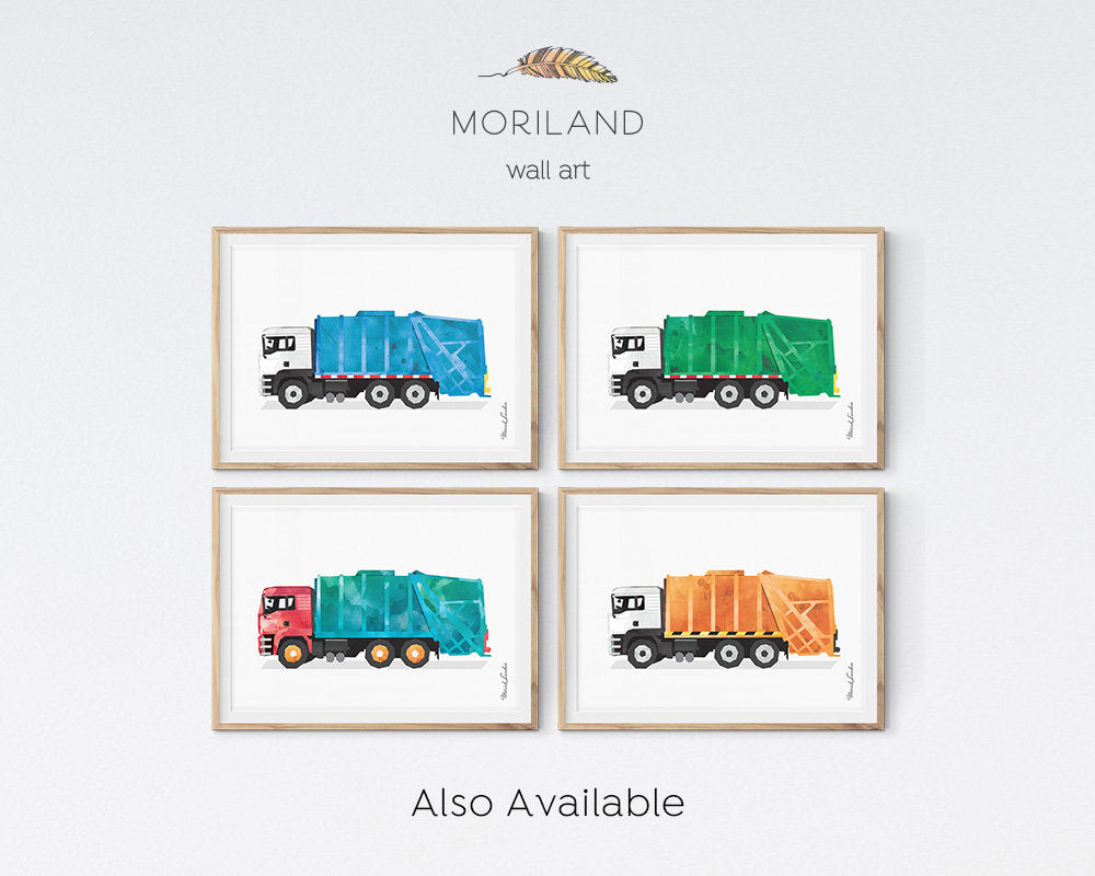 Garbage Truck Print, Transportation Decor, Garbage Truck Birthday, Blue Nursery Art, Kids Decor, Trucks Nursery Decor, Toddler Truck Print
