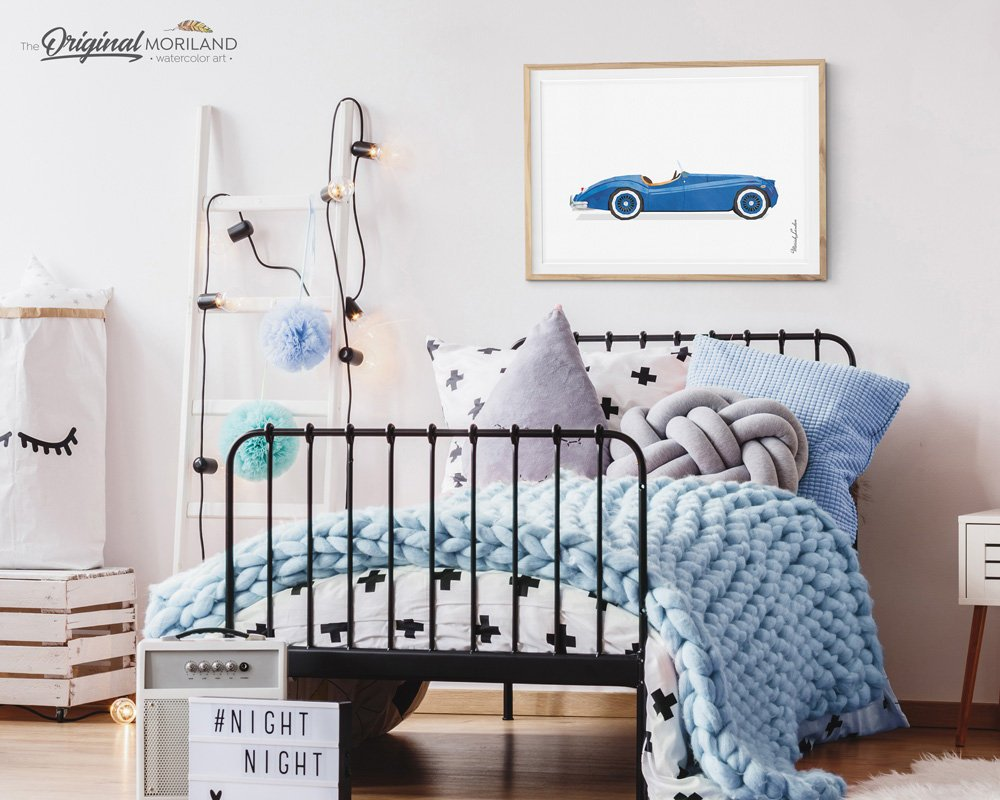 Classic Convertible Car Wall Art print for boy room decor, watercolor illustration