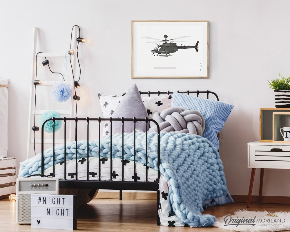 OH-58 Kiowa US Army helicopter wall art print for boys room decor