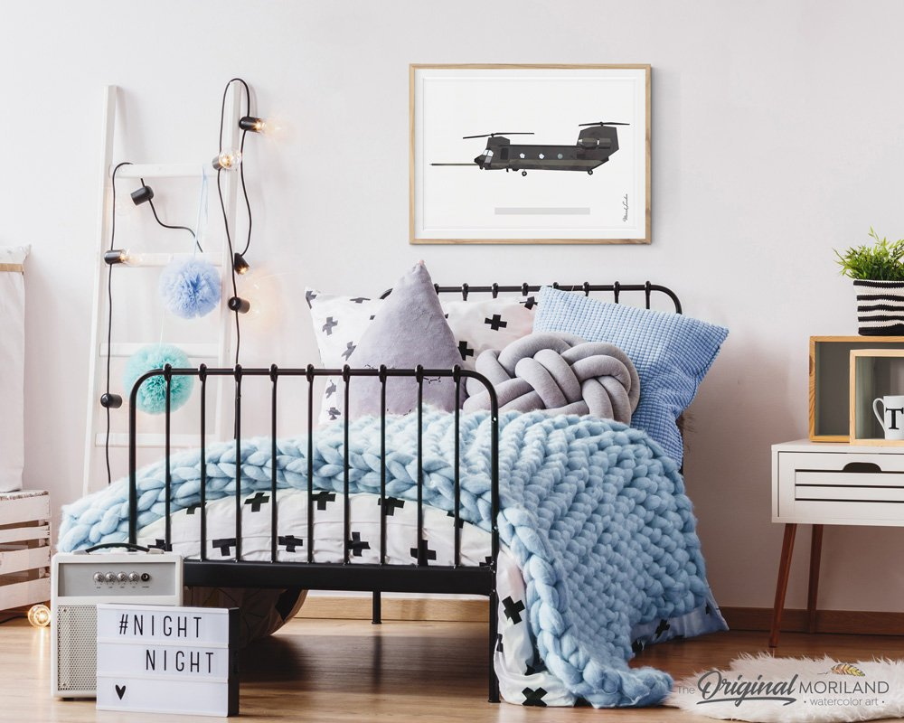 US Army Chinook wall art print for boys room decor