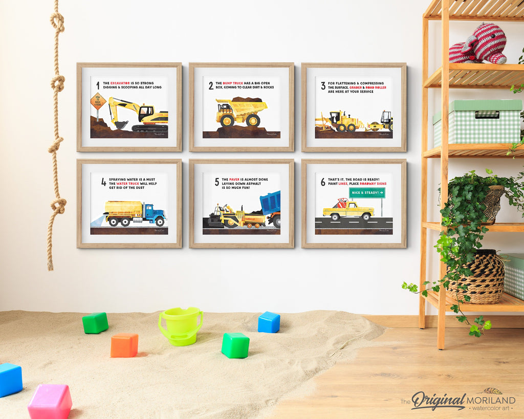 How To Build a Road by MORILAND, Educational Wall Art Set, Alphabet Art, Classroom Decor, Printable, ABC Poster, Construction, Horizontal