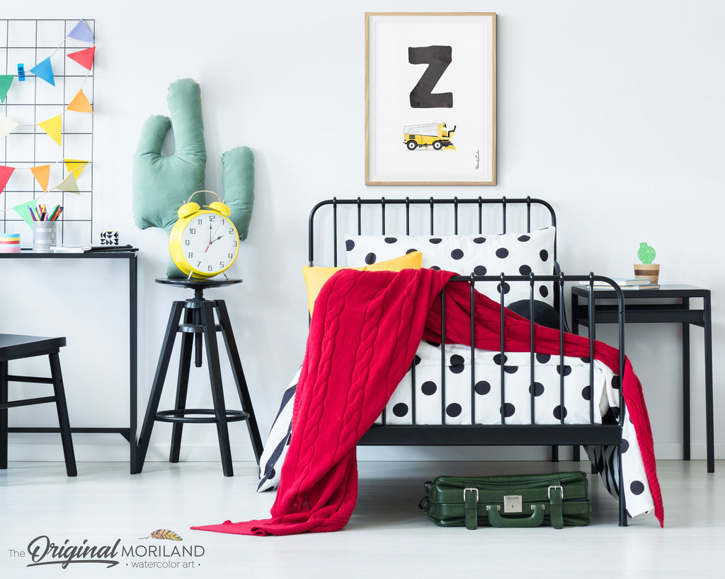 Letter Z Print, Alphabet Print, Personalized Name Nursery, ABC Poster, Boy Name Nursery, Zamboni Print, Alphabet Art, Car Printable