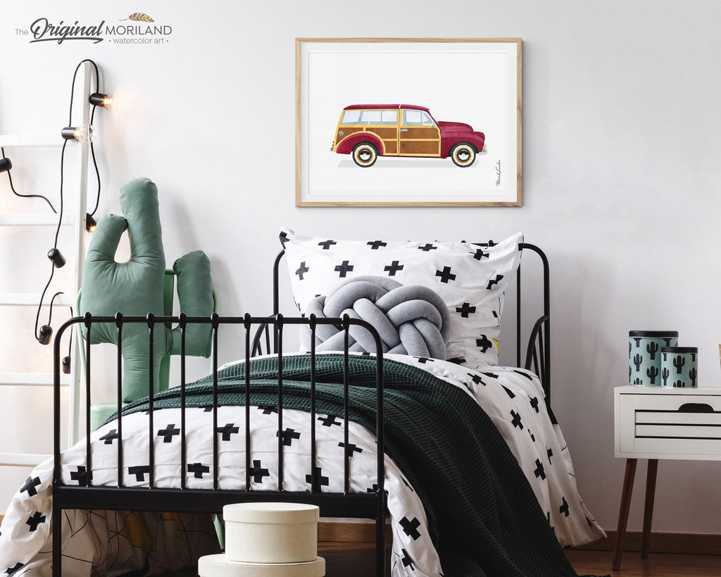 Vintage Woodie Car Print, Classic Car Print, Vehicle Wall Decor, Vehicle Wall Art, Boy Room Decor, Transportation Printable, by MORILAND Art