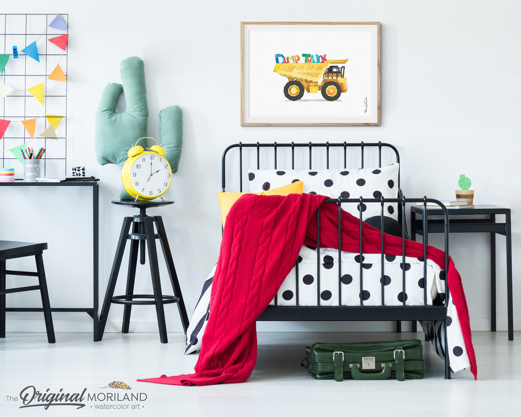 Dump Truck Print, Construction Vehicle Print, Toddler Room Decor, Boy Nursery Decor, Preschool Printable, Truck Print, Transportation Decor